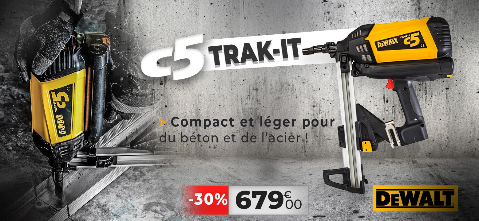 Cloueur dewalt béton à gaz C5 TRAK IT
