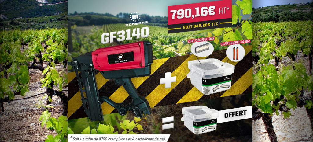 Agrafeuse à crampillons sur batterie GF3140